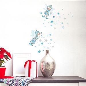ADzif Christmas Wall Decal - Blue Elves - 3.1' x 2.6'