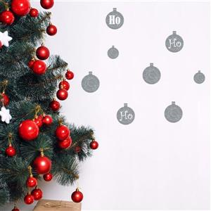 ADzif Christmas Wall Decal - HO HO HO - 3.1' x 2.5' - Gray