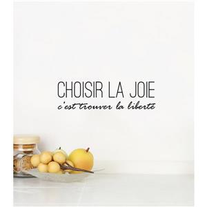 """ADzif Text Wall Decal - """"Choisir la joie""""  - 1.3' x 0.3'"""