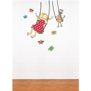 ADzif 4.1-ft x 3.6-ft Swing Girl Wall Decal For Kids