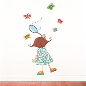 ADzif Girl with Butterflies 4.8- in x 3.4- in Wall Decal for Kids Kids - 4.8' x 3.4'