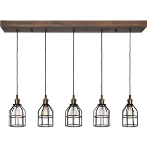 Notre Dame Design Roseneath 5-Light Pendant - Wood and Steel