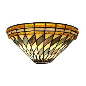 Fine Art Lighting Ltd. Tiffany-Style 8-in x 16-in x 7-in 2 Light Vintage Bronze Wall Sconce