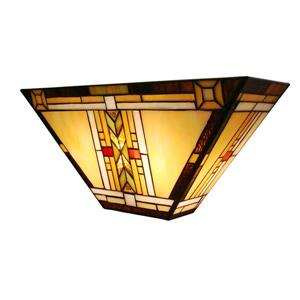 Fine Art Lighting Ltd. Tiffany-Style 5-in x 16-in x 7.5-in 2 Light Vintage Bronze Wall Sconce