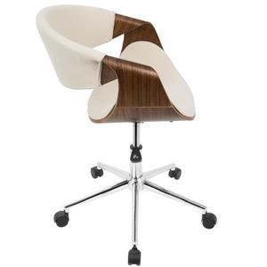 Lumisource Curvo 21.50-In x 17.00-In Wood Walnut and Cream Office Chair