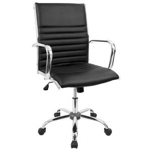 Lumisource Masters 21.75-in x 19.25-in Black Faux Leather Office Chair