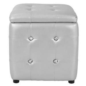 Lumisource Pouf 15-in x 15-in Silver Faux Leather Square Ottoman
