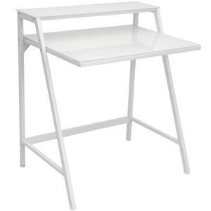 Lumisource 29.75-in x 31-in White Metal 2-Tier Computer Desk