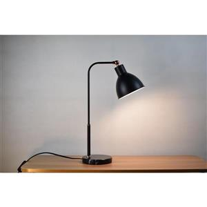 P.W. Design Dawn 20-in with Black Marble Finish Base and Black Metal Shade Table Lamp