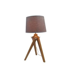 P.W. Design Baja Tripod Lamp 25-in x 12-in x 12-in Bamboo Wood with Metal Trim and Taupe Shade Table Lamp