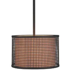 P.W. Design Cabo 21-in Bronze Drum Lampshade Pendant Light