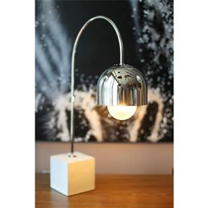 P.W. Design Bella Arched Table Lamp 22.50-in Square Base with Chrome Finished Shade Table Lamp
