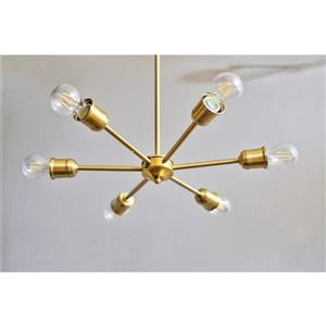 P.W. Design Apollo 19.75-In x 47.5-In Gold Metal 6-Lights Pendant