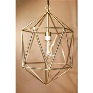 P.W. Design Saturn 14-In Gold Metal 1-Light Pendant