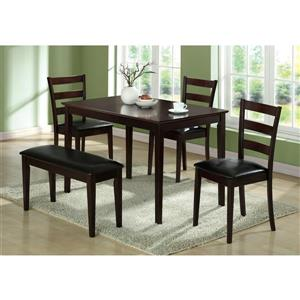 Monarch Brown Faux Leather 5 Piece Dining Set