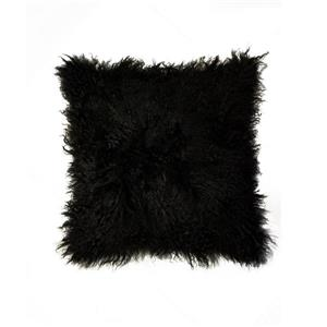 Natural by Lifestyle Brands Mongolian Black 18-in x 18-in Sheepskin Pillow