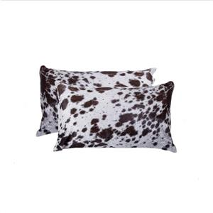 Natural by Lifestyle Brands Lifestyle Natural 12-in x 20-in Chocolat/White Kobe Cowhide Pillow (2 Pack)