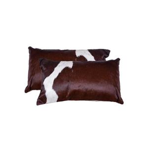 Natural by Lifestyle Brands 12-in x 20-in Chocolate and White Kobe Cowhide Pillow (2 Pack)
