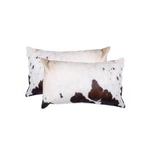 Natural by Lifestyle Brands 12-in x 20-in White and Brown Kobe Cowhide Pillow (2 Pack)