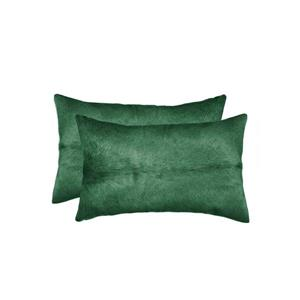 Natural by Lifestyle Brands 12-in x 20-in Green Torino Cowhide Pillow (2 Pack)