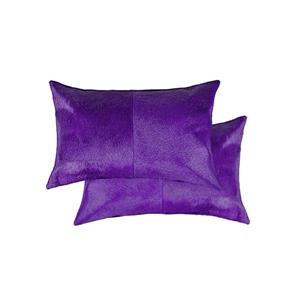 Natural by Lifestyle Brands 12-in x 20-in Purple Torino Cowhide Pillow (2 Pack)