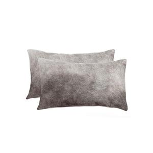 Natural by Lifestyle Brands Torino 12-in x 20-in Grey Cowhide Pillow (2 Pack)