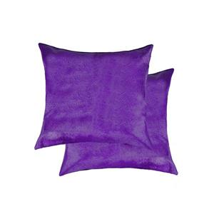 Natural by Lifestyle Brands 18-in Purple Torino Cowhide Pillow (2 Pack)