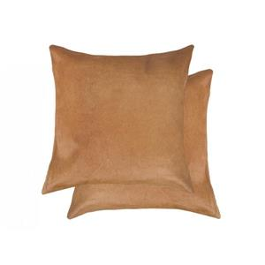 Natural by Lifestyle Brands 18-in Tan Torino Cowhide Pillow (2 Pack)