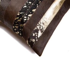 Natural by Lifestyle Brands 18-in Chocolate and Gold Torino Cowhide Pillow (2 Pack)