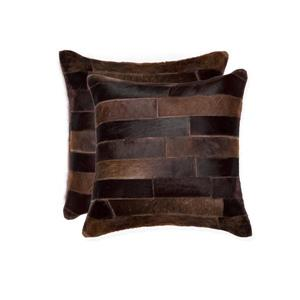 Natural by Lifestyle Brands 18-in Chocolate Torino Cowhide Pillow (2 Pack)