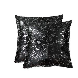 Natural by Lifestyle Brands Quattro Silver/Black 18-in x 18-in Cowhide Pillows (2 Pack)