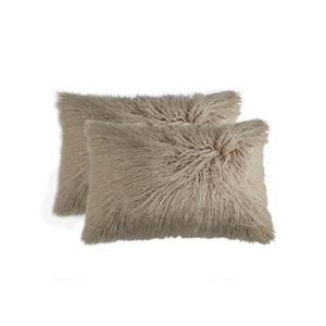 LUXE Mongolian Tan 12-in x 20-in Faux Fur Pillows (2 Pack)