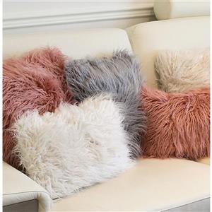 Luxe Mongolian Dark Grey 20-in x 20-in Faux Fur Pillows (2 Pack)