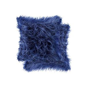 Luxe Mongolian Ink 20-in x 20-in Faux Fur Pillows (2 Pack)