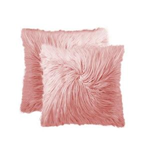 LUXE Mongolian Rose 20-in x 20-in Faux Fur Pillows (2 Pack)