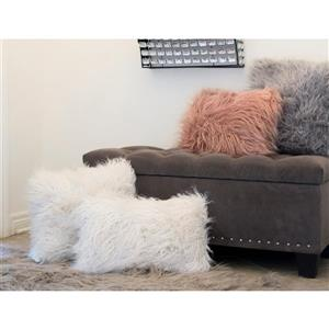 LUXE Mongolian Stone White 20-in x 20-in Faux Fur Pillows (2 Pack)
