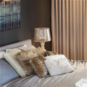 Luxe Belton 18-in Square Tan Faux Fur Pillows (2 Pack)