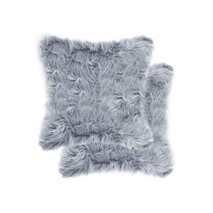 Luxe Belton 18-in Square Grey Faux Fur Pillows (2 Pack)