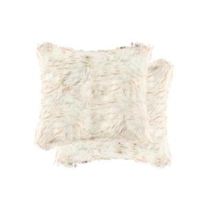 Luxe Belton 18-in Square Gradient Tan Faux Fur Pillows (2 Pack)