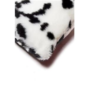 Luxe Belton 12-in x 20-in Black and White Faux Fur Pillows (2 Pack)