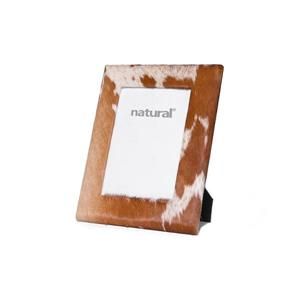 Natural by Lifestyle Brands Durango Cowhide Picture Frame - 4 x 6 - Brown/White