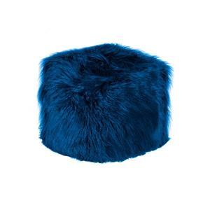 LUXE Mongolian Sheepskin  Blue Faux Fur Ottoman