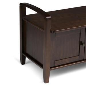 Simpli Home Warm Shaker 18.1-In x 44.1-In x 22.2-In Brown Wooden Indoor Storage Bench