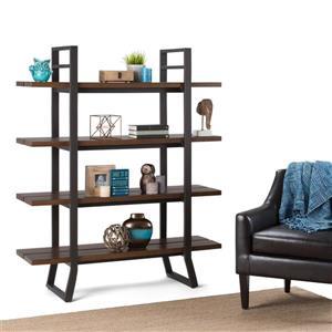 Simpli Home Adler 18-in x 54-in x 66-in Pine Light Walnut Brown Bookcase