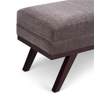 Simpli Home Oscar Polyester  Gray Extra Wide Ottoman Bench