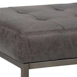 Simpli Home Beckett 36-in x 20.1-in x 18.1-in Black Faux Leather Ottoman Bench