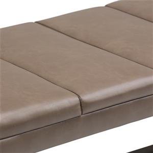 Simpli Home Jenson 53-in x 19.1-in x 18.1-in Brown Faux Leather Ottoman Bench