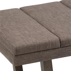 Simpli Home Jenson 53-in x 19.1-in x 18.1-in Brown Linen Ottoman Bench