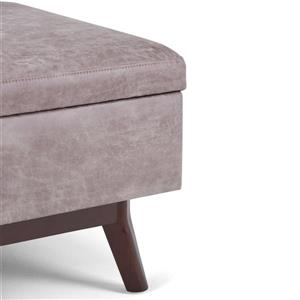 Simpli Home Owen  34.1-in x 26-in Distressed Grey Coffee Table Ottoman with Storage