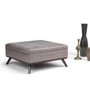 Simpli Home Owen 38-in x 38-in  Distressed Grey Taupe Square Coffee Table Ottoman with Storage